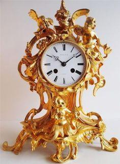Antique Clock - 1800's French solid gold gilt ormolu bronze roccoco mantel clock | eBay Large Vintage Wall Clocks, Large Clock, Antique Mantel, Classic Clocks, Carriage Clocks, Retro Clock, Wall Clock Online, Wooden Clock, Vintage Wood