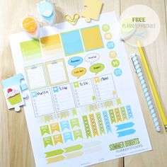 Summer Brights Planner Stickers Printable