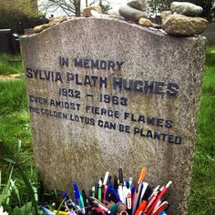 Sylvia Plath is buried in St.Thomas' Churchyard, Heptonstall, West Yorkshire, England.