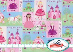 FAIRY-TALE CASTLE Fabric by the Yard Fat Quarter by FabricBrat