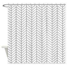 Gray Herringbone Shower Curtain for