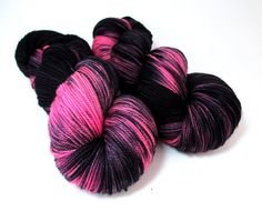 Hand Dyed Yarn, Merino Fingering Sock, Bright Neon Pink Black by Fiber Fangirl