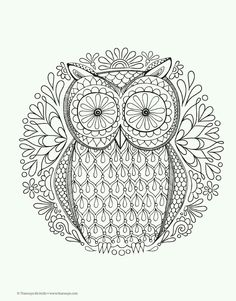 colouring for adults anti stress colouring printables - Animal Mandala Coloring Pages Owl
