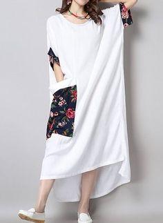 Linen Floral Short Sleeve High Low Casual Dresses (1023551) @ floryday.com