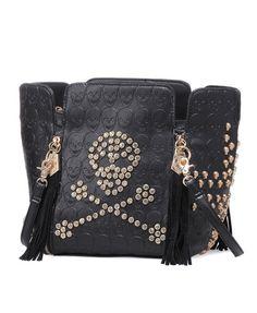 Skull Printed Bag with Diamante, Stud and Tasseled Zip Detail.I love this purse Rocker Girl, Vintage Gypsy, Rock Chic, Skull Print, Printed Bags, Sugar Skull, Purses And Bags, Shoe Bag, My Style