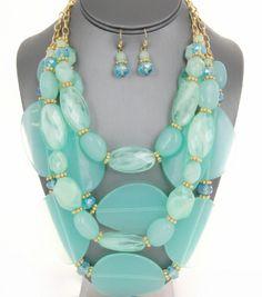 Multi-Strand Beaded Crystal Chunky Necklace Set
