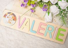 Pastel Name Puzzle Wooden Personalized Name Puzzle With Pegs Montessori Toys for girls Baby Shower Gift Engraved Name Puzzle Jigsaw Puzzles For Kids, Puzzles For Toddlers, Wooden Puzzles, Wooden Letters, Newborn Baby Gifts, Baby Girl Gifts, Diy For Kids, Gifts For Kids, Name Puzzle