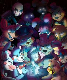 Five Nights At Freddy's 2 ( Puppet, Foxy, Mangle, Bonnie, Toy Bonnie, Freddy, Toy Freddy, Chica, Toy Chica, Balloon Boy, Golden Freddy, Shadow Bonnie and Shadow Freddy
