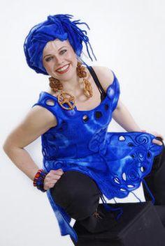 Blue felt scarf/turban and dress