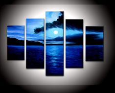 hand-painted oil wall art Sea dark blue cloud home decoration abstract Landscape oil painting on canvas 5pcs/set mixorde
