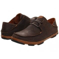OluKai Dark Wood & Toffee Ohana Lace-Up Shoes for Men