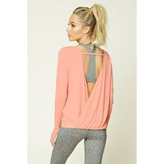 Forever21 Active Surplice Back Top (£13) ❤ liked on Polyvore featuring tops, peach, red top, forever 21 tops, long sleeve tops, criss cross back top and forever 21