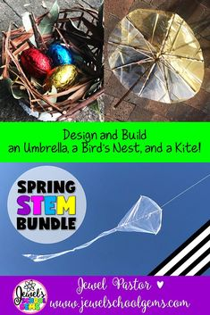 Spring STEM Activities BUNDLE (Spring STEM Challenges) | This is a bundle of three of my Spring STEM challenges: Umbrella STEM Challenge, Bird's Nest STEM Challenge, and Kite STEM Challenge. These Spring STEM Activities are fun, creative, and engaging! They will surely get your students designing and building during this time of year.  Click to see this bundle on TpT!