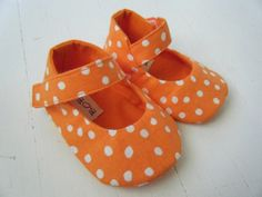 Orange Polka Dot Mary Jane Shoes For Your Baby by BobkaBaby ♡