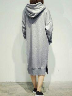 7 Colors Casual Women Solid Color Long Sleeve Pocket Hooded Sweatshirt Dress - Banggood Mobile