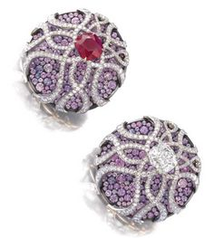 JAR: sapphire, ruby and diamond earrings.  Sotheby's.