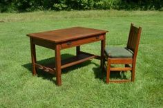 """L&JG Stickley Branded 48"""" Library Table With Chair"""