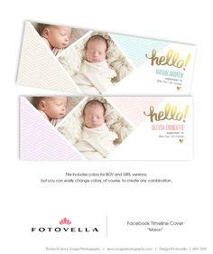 Boy or Girl Baby Birth Announcement Facebook Cover by FOTOVELLA - Photoshop Templates for Photographers