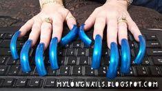 Long Red Nails, Long Fingernails, Long Acrylic Nails, Blue Nails, Crazy Nail Art, Crazy Nails, Curved Nails, Sexy Nails, Dream Nails