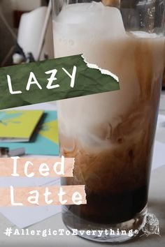 It's summer.  We're still pretty much locked down.  I'm back to my natural state of NOT BEING A MORNING PERSON.  This is my lazy iced latte (with almond milk, or the milk of your choice).  It takes about a minute to make.    Lazy Iced Latte Recipe #allergictoeverything