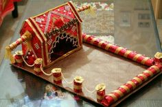 Ideas For Wedding Gifts Indian Beautiful Indian Wedding Gifts, Diy Wedding Gifts, Wedding Crafts, Wedding Decorations, Wedding Ideas, House Decorations, Indian Weddings, Wedding Things, Diy Gifts