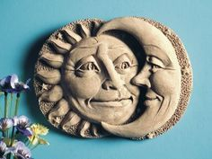 "Cast Stone Celestial Attraction - Sun, Moon Plaque - Collectible Indoor Outdoor Concrete Sculpture by Creative Structures. $33.90. Dimensions: 7.5"" W x 5.75"" H x 1"" D - Item Weight: 2 Lbs. - Handmade In The USA. Unique And Whimsical Works Of Art By George At Carruth Studio. Extremely Innovative Creations That Breathe Life And Bring Joy And Whimsy To Your Home Or Garden. A Copper Hook Is Embedded In The Back Of This Piece For Hanging. Hand Cast Stone, Weatherproof & W..."