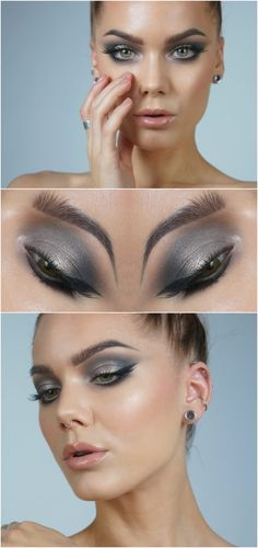 cool champagne & grey smokey eye w/ winged liner @lindahallbergs w/ glossy nude lips | #eyeliner #makeup
