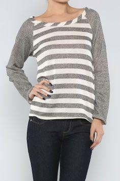Striped Terry Top, Grey - Juliette's Jewels