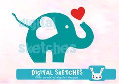 Weiteres - Plotterdatei Elefant Plottervorlage Herz .svg .dxf - ein Designerstück von Digital-Sketches bei DaWanda