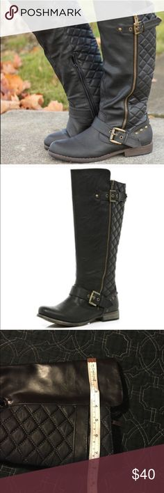 """Black, tall riding boots w/studs, re-Posh♥️❤️ Cute boots, my Nina's wear. I bought these here on Posh and I wanted a taller boot. Shaft measures approx 16"""" tall in the front and 15"""" in the back and fits a 16.5"""" calf. They slip on, have really cute decorative zippers and studs and an adorable quilted pattern around the back of the calf. Open to offers!  Shoes Winter & Rain Boots"""