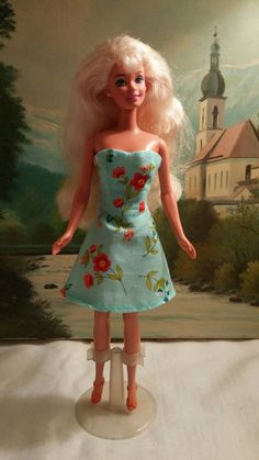 Strapless summer dress for Barbie with shoes