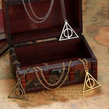 Harry Potter The Deathly Hollows Pendant Necklace. Harry Potter Ring, Harry Potter Items, Harry Potter Jewelry, Harry Potter Deathly Hallows, Long Chain Necklace, Pendant Necklace, Deathly Hallows Necklace, Silver Ring Designs, Places