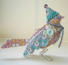 Pretty little dressed-up birds are unbelievably simple to make. Tutorial at http://www.gluearts.blogspot.com/2011/10/websters-pages-gluearts-have-gone-to.html