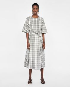 Image 1 of CHECKED DRESS WITH BELT from Zara