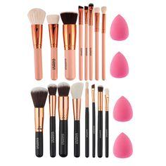 Nova 8 Pcs Ouro Rosa Pincéis de Maquiagem Sombra Blush Em Pó Fundação Escova Maquiagem Ferramenta + 2 pc Esponja Sopro Kit de cosméticos
