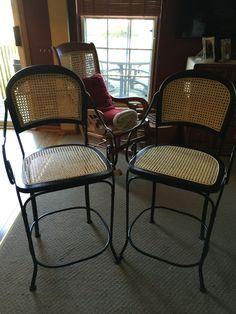 Pressed Cane and wrought iron bar stools Wrought Iron Bar Stools, Restoration, Chair, Furniture, Home Decor, Refurbishment, Recliner, Homemade Home Decor, Decoration Home