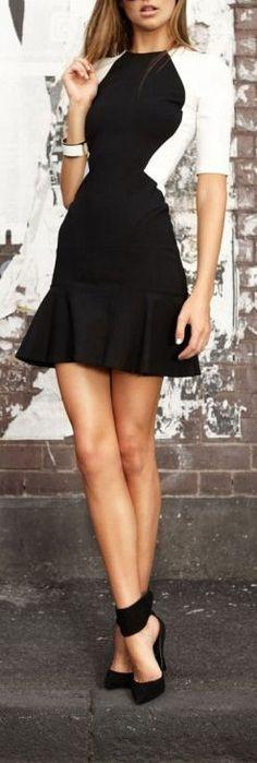 Black & White Ruffle Dress + Buckle-Up Pumps ♥