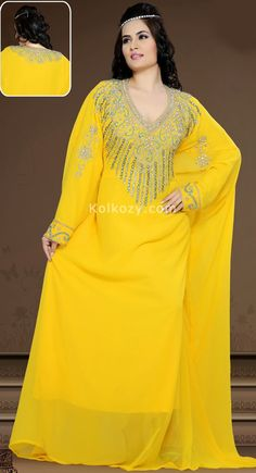 Beautiful Attire Outstanding Craftmanship Of Embellishments Exhibited In This contemporary Yellow Color Faux Georgette #Stylist #Caftan.