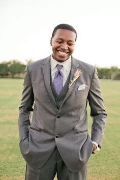 gray and purple groom ideas