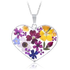 Large Multicolored Real Flower Heart Pendant