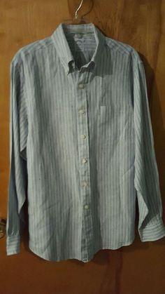 Brooks Brothers Original Polo Slim Fit All Irish Linen Blue Striped Shirt L Euc #BrooksBrothers $29.99