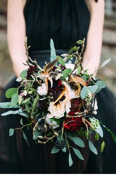 At an abandoned railroad line among bald birch trees and in front of a monochrome backdrop the temptingly wild bride strolls dressed all in black. Wedding Looks, Wedding Bride, Rustic Wedding, Dream Wedding, Wedding Dreams, Wedding Stuff, Wedding Bouquets, Wedding Flowers, Scandinavian Wedding