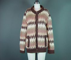 c8f1440387 60s Chunky Sweater Cardigan Vintage 1960s Zig Zag by mustangannees Vintage  Sweaters
