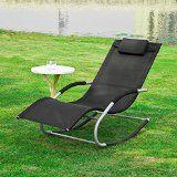 SoBuy OGS28-Sch Fauteuil à bascule Transat de jardin avec repose-pieds Bain de soleil Rocking Chair Noir