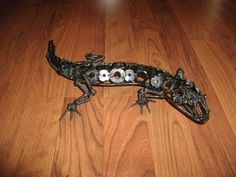Lizard. Recycled metal sculpture. Scrap art. Alkolai Arts by Matt Bellefeuille on Facebook