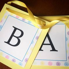 Cute as a Button Baby Shower Banner w/ ribbon by Eleven Eleven Pixel