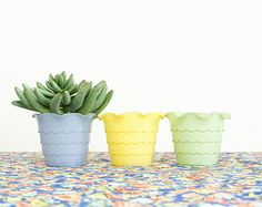 Anchor Hocking Glass Flower Pot - Fire King Planter - Pastel Colors - Kitchen Herb Pots - Ruffle Edge - Fired on Paint Outside Paint, Kitchen Herbs, Herb Pots, Flower Pots, Flowers, Anchor Hocking, Pretty Pastel, Window Sill, Kitchen Colors