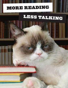 Grumpy Cat says: More Reading. Less Talking.
