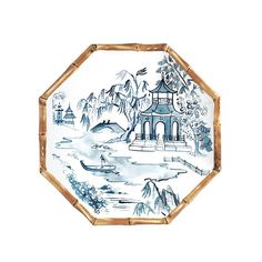 Set of 4 Bamboo Melamine Accent Plate Blue - Ballard Designs Painted Bamboo, Faux Bamboo, Melamine Dinnerware, Dinnerware Sets, Tableware, Chinoiserie Motifs, Floral Bedding, Dinner Plate Sets, Blue Plates
