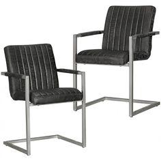 2er Set Esszimmerstühle MAGNUS im Vintage Design Schwarz